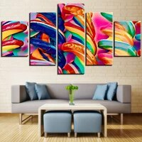 Toile imprimee Hd 5 pieces  images murales en couleur  peinture bonbons et bonbons  decor de maison modulaire  affiche abstraite pour salon