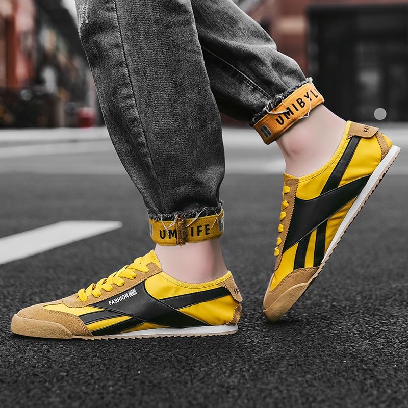 Zapatillas de correr para hombre transpirables y ligeras, calzado informal, color amarillo, para exteriores