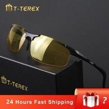 T-TEREX occhiali per la visione notturna uomini polarizzati lenti antiriflesso telaio in alluminio magnesio occhiali da sole gialli occhiali da guida per auto
