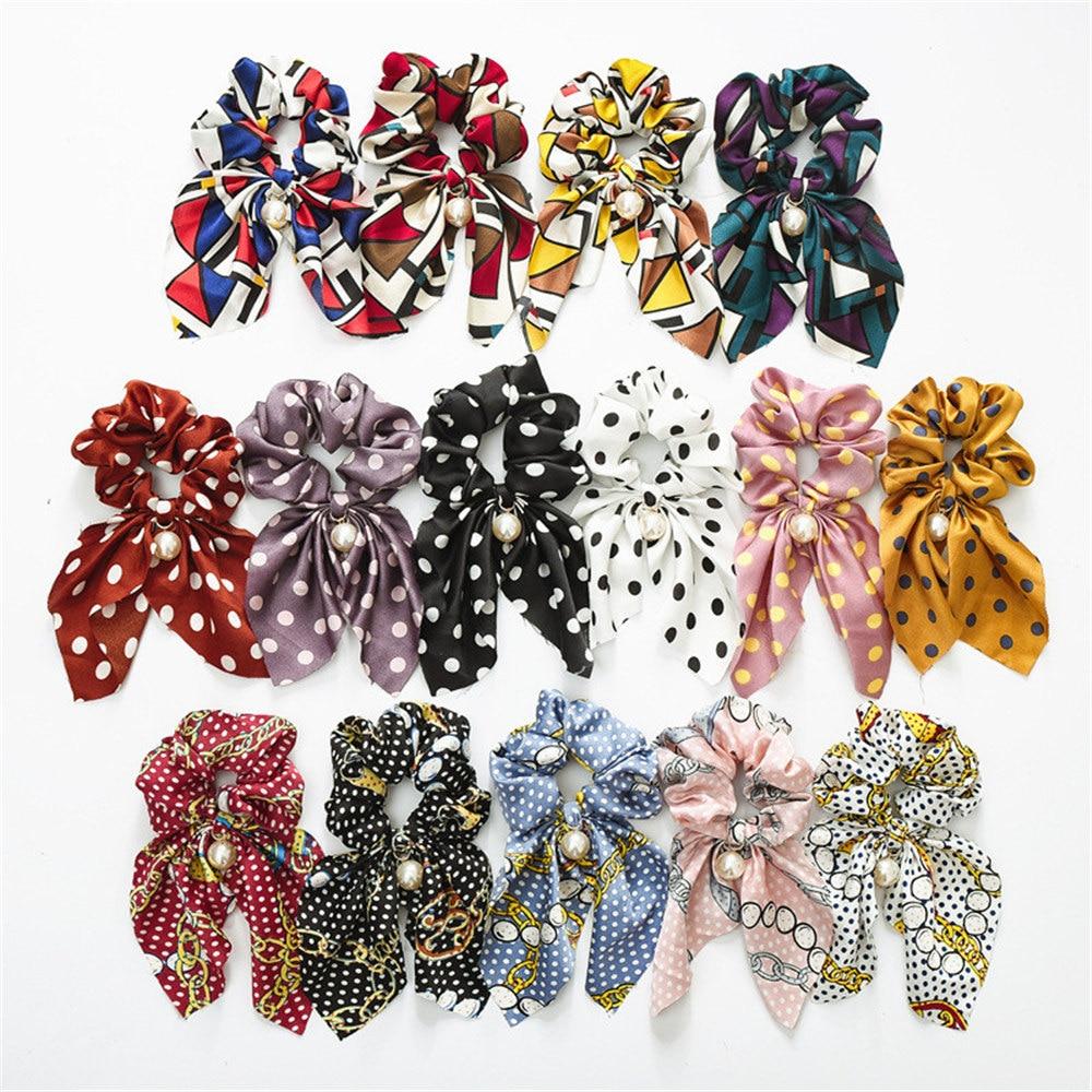 Mode sommer Pferdeschwanz Schal Elastische Haar Seil für Frauen Haar Bogen Krawatten Scrunchies Haar Bands Blume Druck Band Stirnbänder
