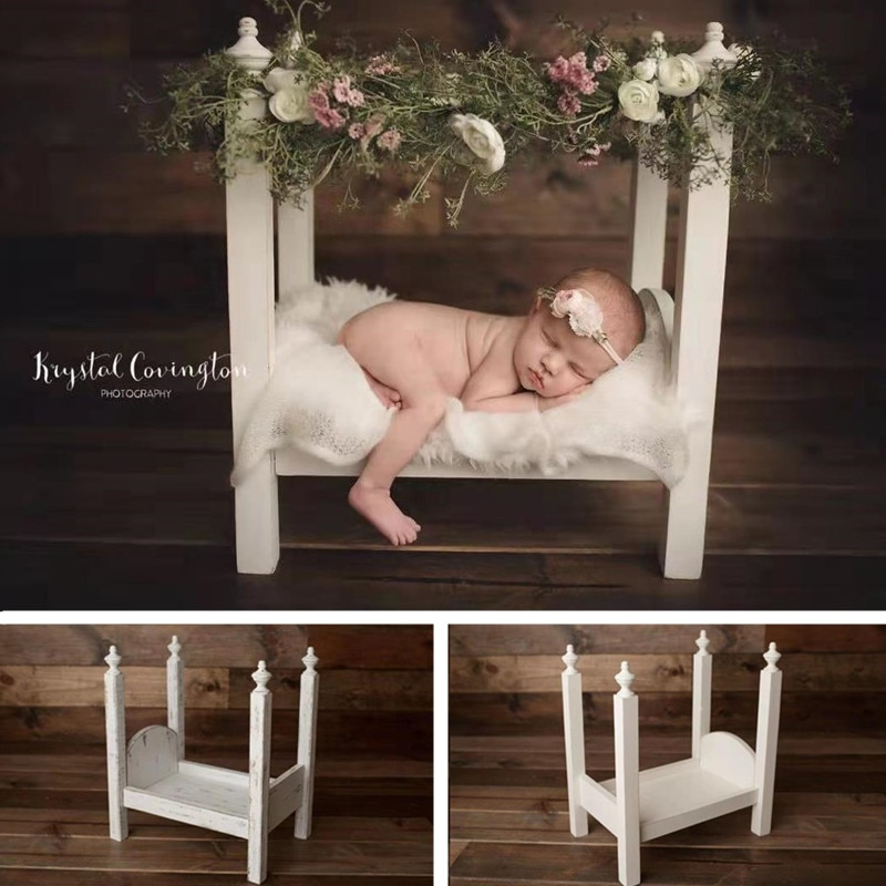 Newborn Photography Props Handmade Vintage White Solid Wood Bed Baby Photo Furniture Studio Boy Girl Fotografie Accessoires Sofa