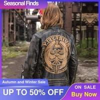 2021 vintage black men skulls pattern bikers leather jacket large size xxxl genuine cowhide autumn slim fit motorcycle coat