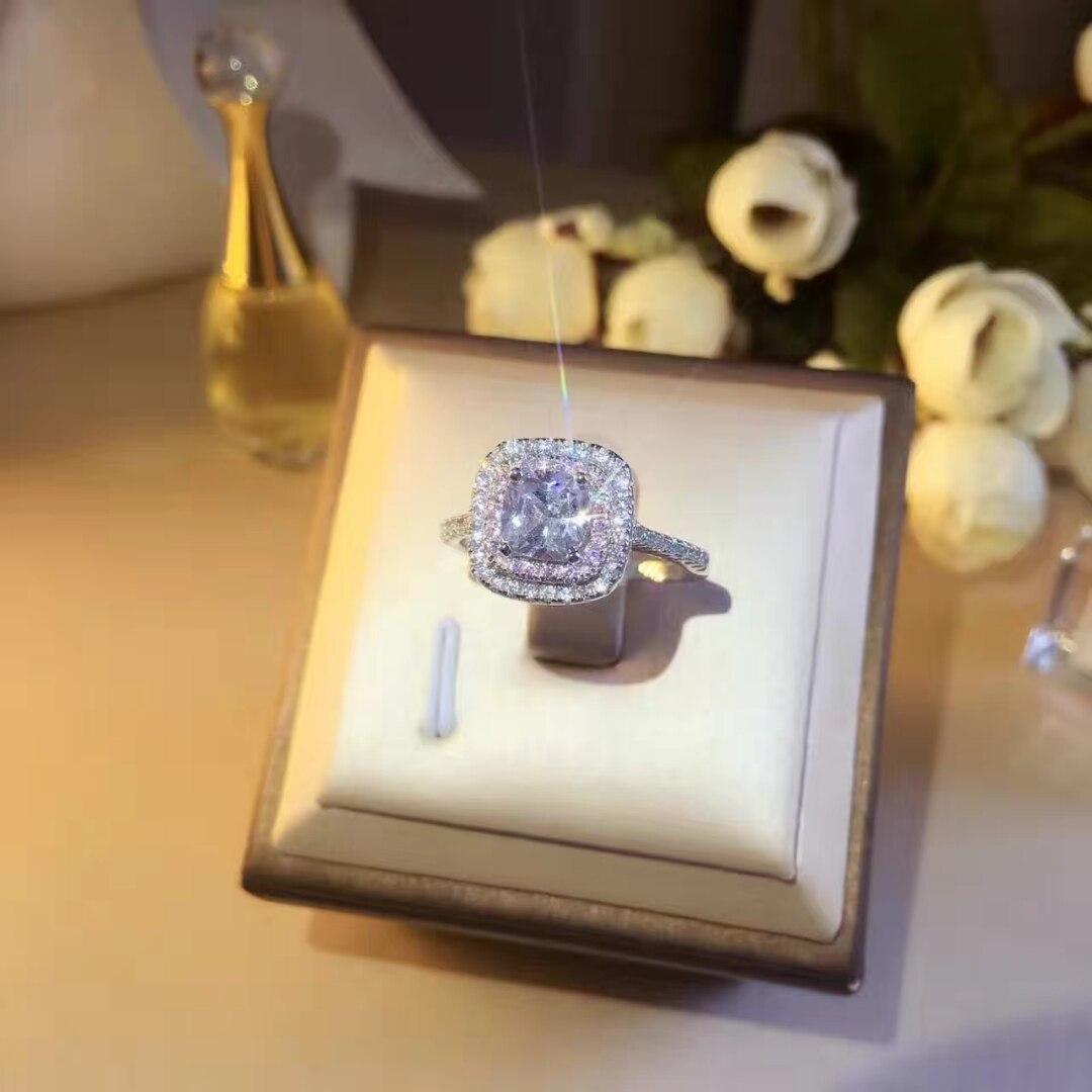 TSHOU152 TIFF 925 Plata de Ley circonita Anillo blanco rosa plata 925 joyería anillos de boda para mujeres