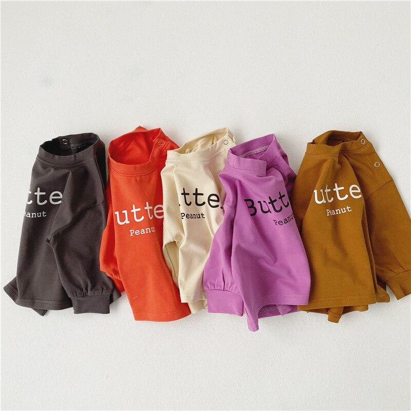 Bebé niños niñas Algodón puro carta impresión T camisa primavera otoño 5 colores casual de manga larga Camisetas 0-3Y