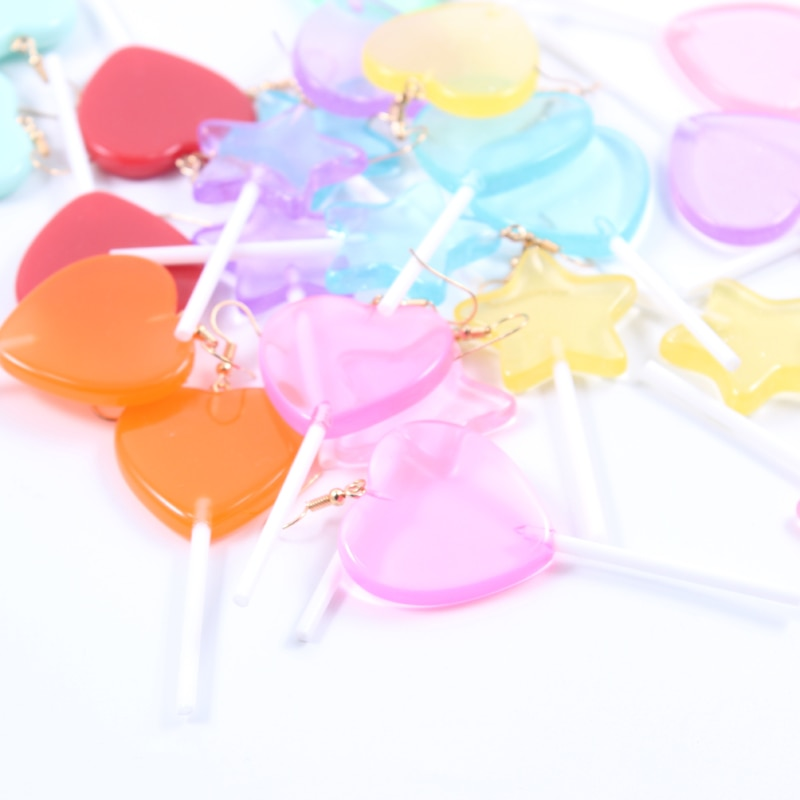 1pair Women Earring Resin Craft Candy Lollipop Bff Friendship Drop Earrings For Women Jewelry DIY Fashion Girl Resin Kawai Candy