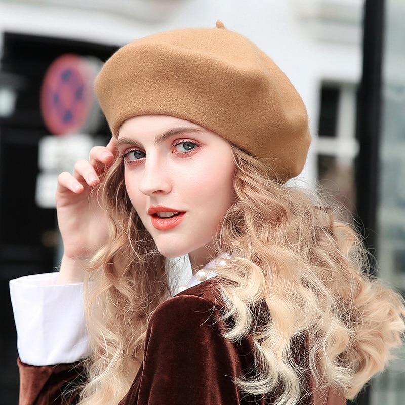 100% Pure Wool Beret Hat Women Felt Beret British Style Fashion Girls Beret Hat Lady Solid Color Slo