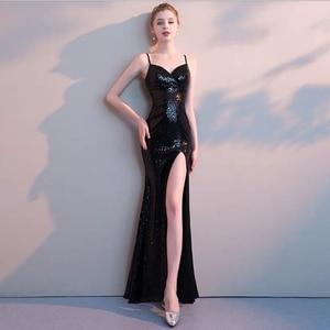 Dress for women Summer 2020 new women's dress sexy V-neck dress long elegant slim sexy sling split party dress black long dress