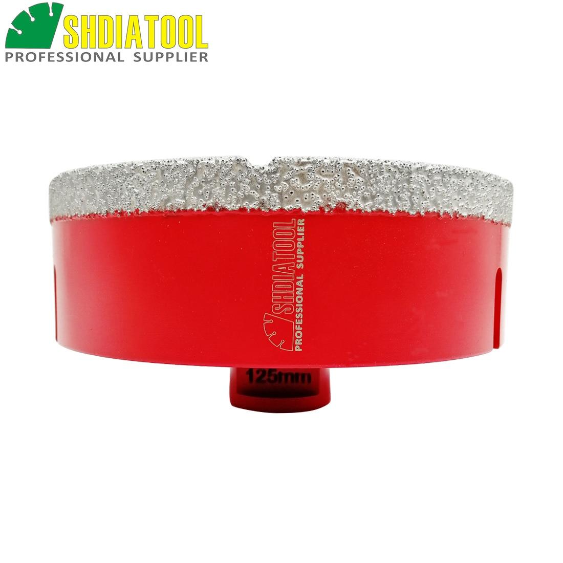 SHDIATOOL 1 pieza M14 diámetro 125mm taladro de diamante soldado al vacío broca de perforación para granito mármol cerámica Sierra de agujero