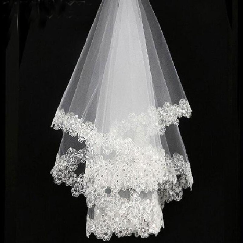 Bela 1,5m čipkasta aplicirana poročna tančica neveste tančice - Poročni dodatki - Fotografija 6