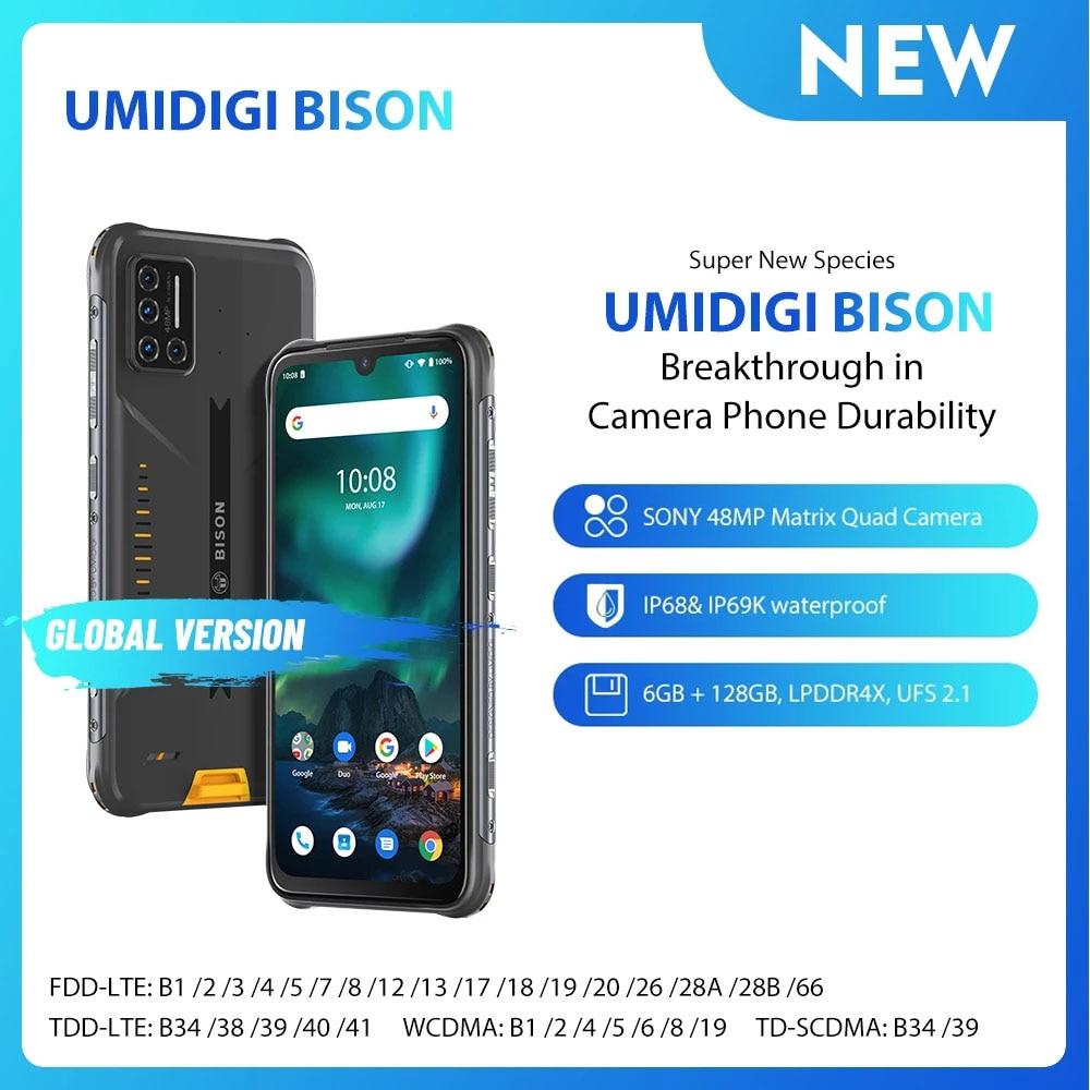 UMIDIGI BISON Smartphone  IP68/IP69K Waterproof Rugged Phone 6GB+128GB NFC Android 10 48MP Matrix Quad Camera 6.3