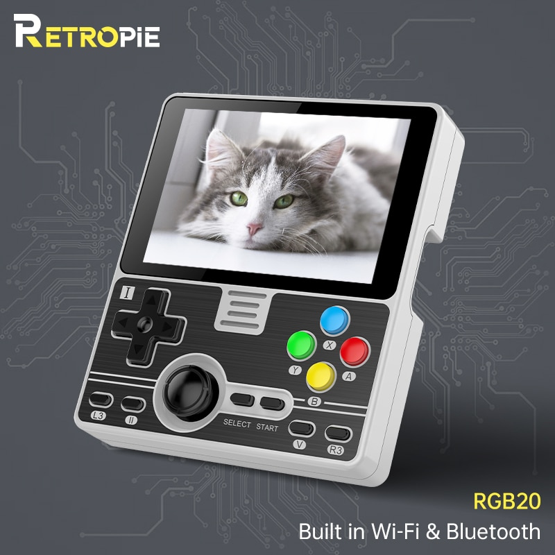 Retropie POWKIDDY-وحدة تحكم ألعاب محمولة مع شاشة IPS مقاس 3.5 بوصة ، وحدة Wifi مدمجة متعددة اللاعبين ، RK3326 مفتوح المصدر
