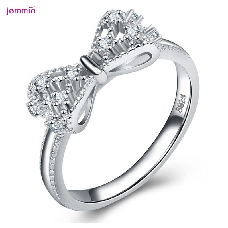 flyleaf 925 sterling silver rings for women cubic zirconia rotate creative fashion open ring femme fine jewelry wedding gift Stylish Bow Knot Anniversary Cubic Zirconia Rings 925 Sterling Silver Rings for Women Silver 925 Jewelry Fine Jewelry