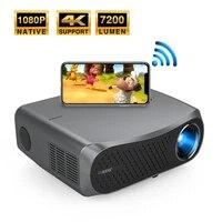 Projecteur natif 1080P Full HD 7200 Lumen  avec Bluetooth  WiFi  prise en charge 4k pour divertissement en plein air a domicile  Airplay intelligent