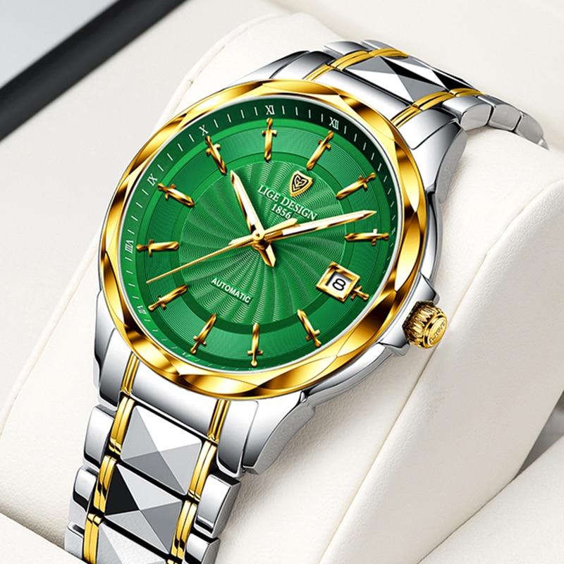 2020 LIGE Top Brand Luxury Men Automatic Mechanical Watch Tungsten Steel Waterproof Self-Wind Sapphire Glass Business Wristwatch