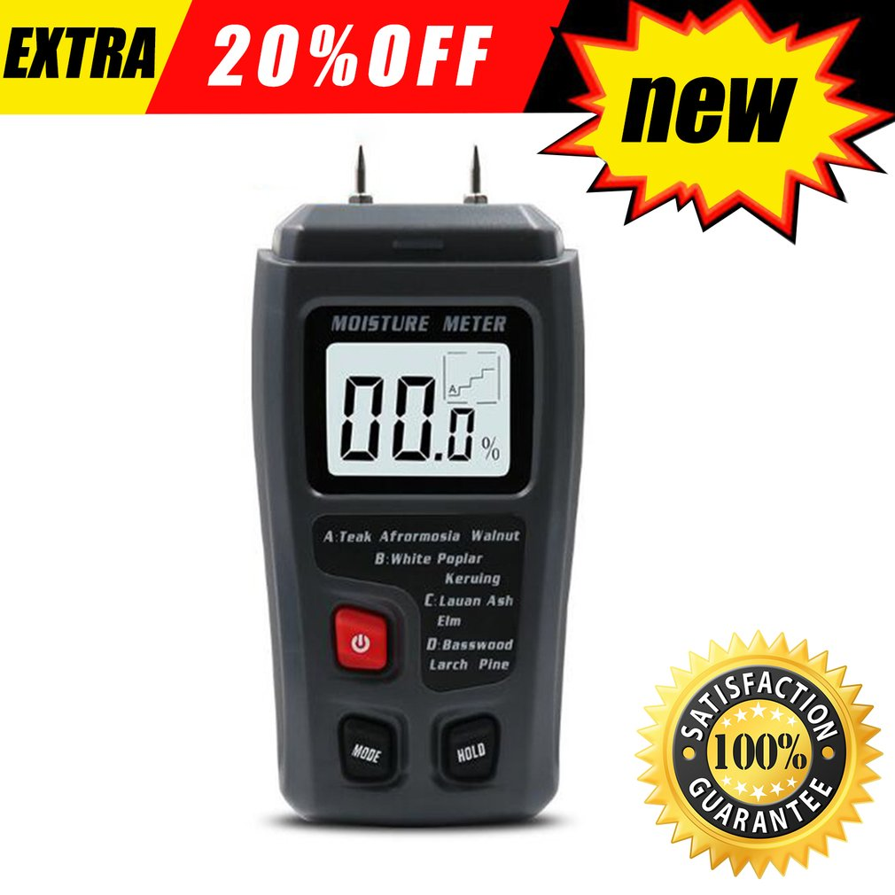 EMT01 0-99.9% Two Pins Digital Wood Moisture Meter Wood Humidity Tester Hygrometer Timber Damp Detector Large LCD Display digital wood moisture meter 7 categories of material moisture detection with lcd display backlight wood working tester