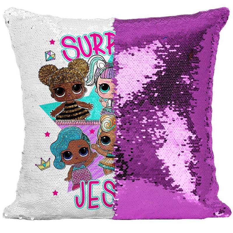 LOL Surprise Dolls Cute confeti lentejuelas funda de almohada lol muñeca de dibujos animados Anime interior sofá cojín de lentejuelas funda de cojín