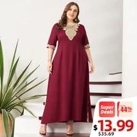 new summer maxi dress women plus size vintage lace patchwork split hem solid wine red half sleeve party prom long suelto dresses