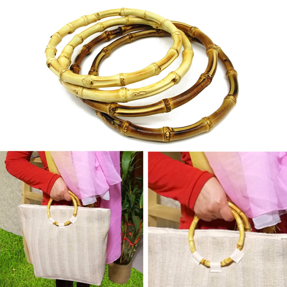 13cm 15cm Round Bamboo Bag Handle for Handcrafted Handbag Fashionable DIY Simple Personality Bag Accessory Temperament Pretty