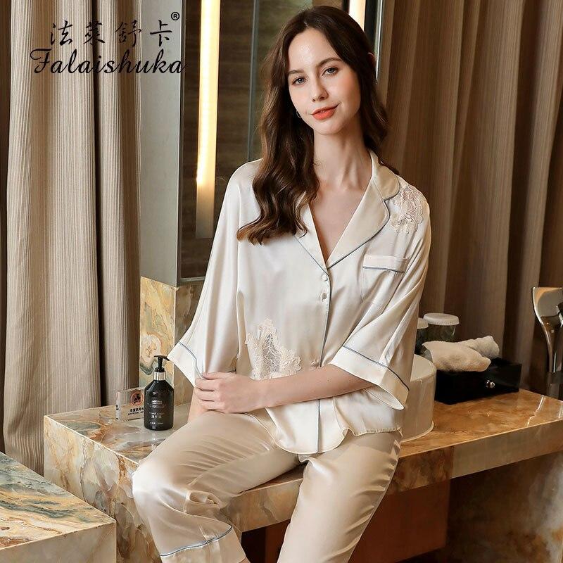 100% طقم بيجامات منزلية من الحرير لصيف 2021 طقم نوم نسائي وردي نصف كم مكون من قطعتين ملابس نوم حريرية وردية للنساء