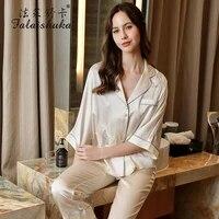 100 silk stain pajamas homewear set lady summer 2021 half sleeve pink two piece sets pink silk sleepwears female