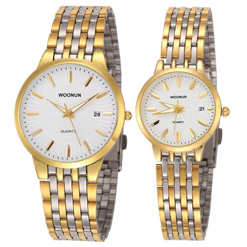 Couple Watch Men's Women's Wrist Watches Luxury Gold Watches Stainless Steel Quartz Wristwatches Fashion Lovers Watches