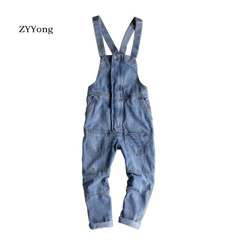 2021 Autumn Overalls Men's Bib Jeans Jumpsuit Fashion Pocket Zipper Loose Denim Pants Light Blue Trousers Free Shipping