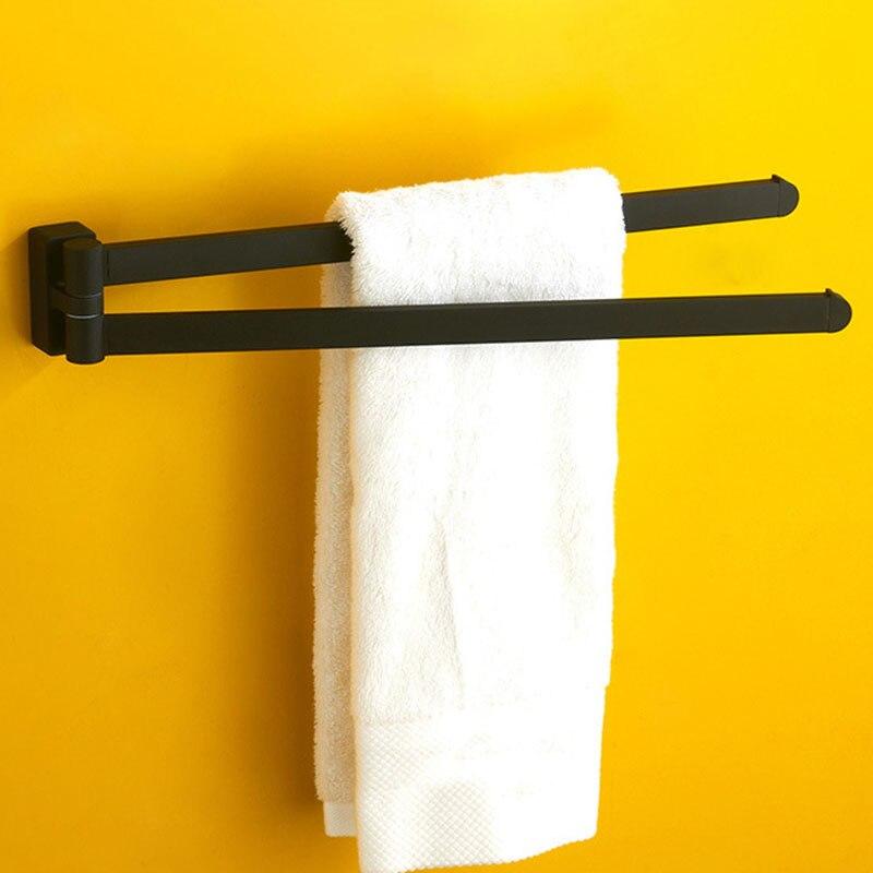 قضيب منشفة دوار ، ملحقات حمام مزدوجة متحركة ، مطاط أسود غير لامع مصقول بالكروم