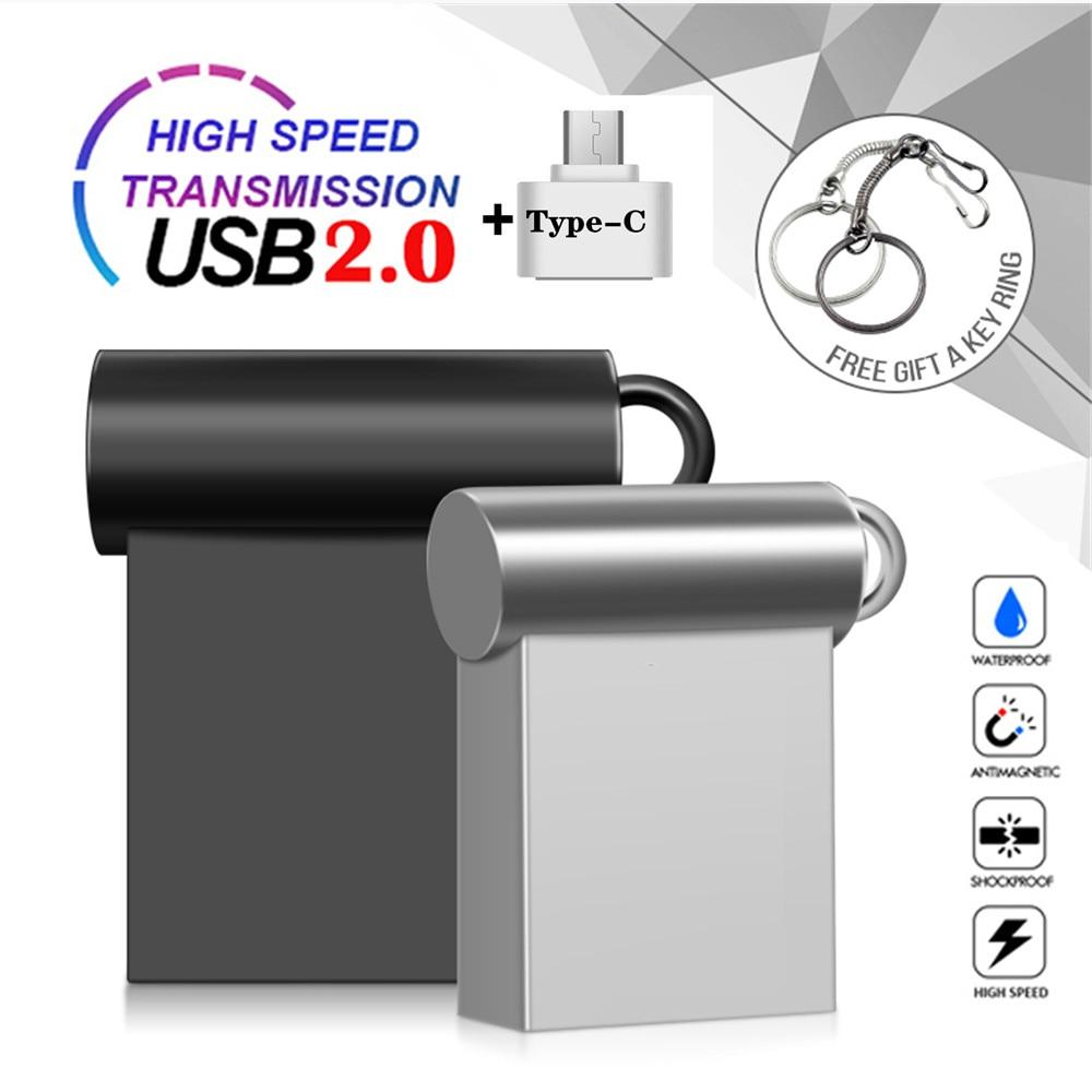 Super Mini Metal Ring Type-C Usb Flash Drive 32GB Flash Memory Card Waterproof Pendrive 64GB 128GB 256GB Pen Drive 16GB 8GB 4GB