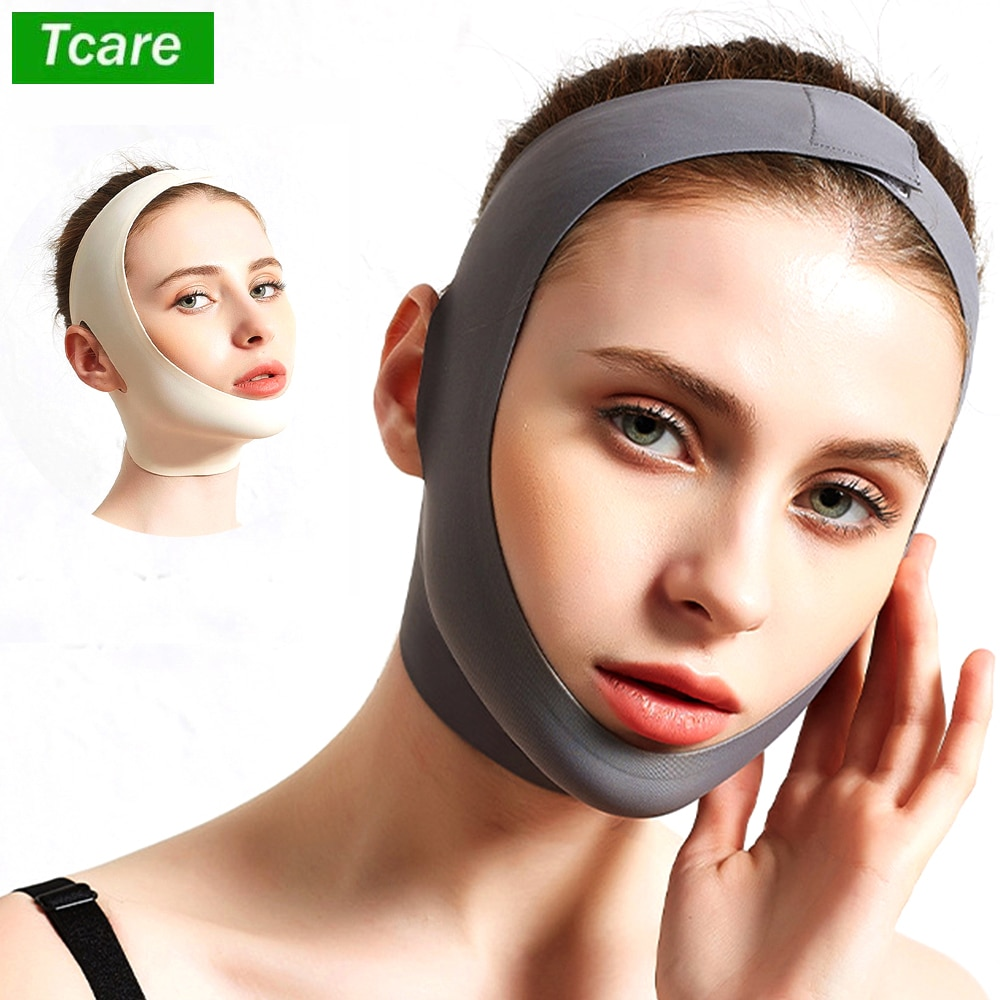 Tcare V Line Shaping Face Masks, Anti-Aging and Anti-Wrinkle Band Double Chin Reducer Strap Slimming and Firming Face Lift Sheet