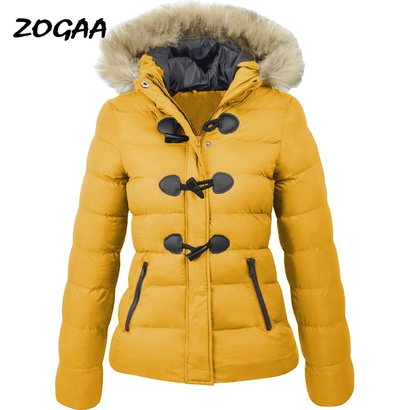 ZOGAA Women Parkas Winter Snow Coat Casual Fur Collar Horn Buckle Cotton Solid Jacket Female Hooded Warm Clothes