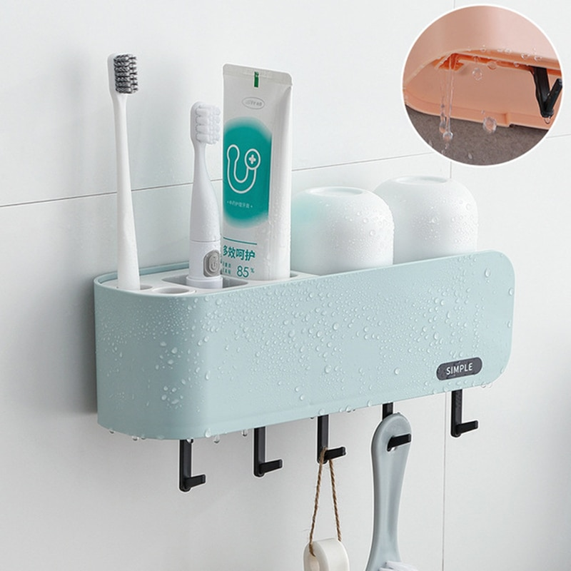 Soporte de cepillo de dientes accesorios de baño Set de gran espacio libre de perforación cepillo de dientes estante de pasta de dientes soporte de la taza de lavado estante de almacenamiento