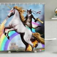 Rideau de douche motif licorne  12 pieces  pour salle de bain avec pistolet  housse de bain Extra Large avec crochets
