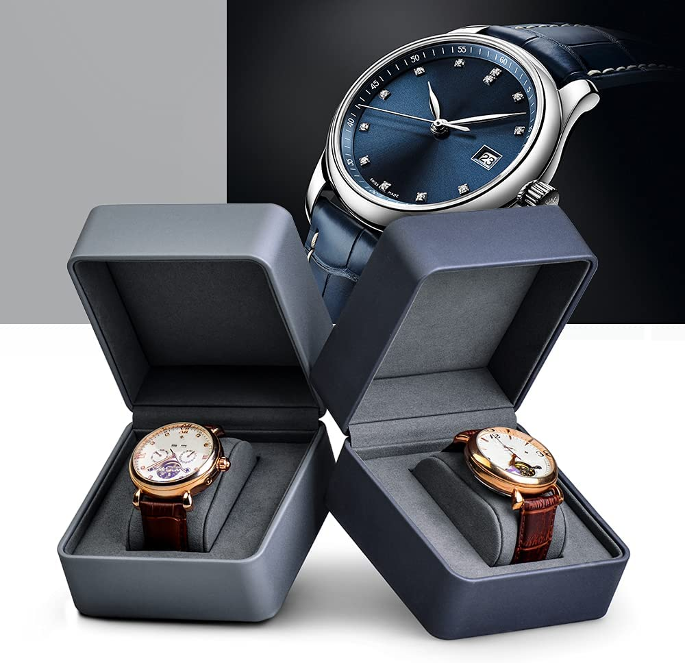 Oirlv Premium Leather Watch Gift Box Single Watch Storage Case with Removable Pillow Wristwatch Display Box Jewelry Organizer ice gray bracelet watch storage box display stand dust proof glass transparent watch box display props small pillow wholesale