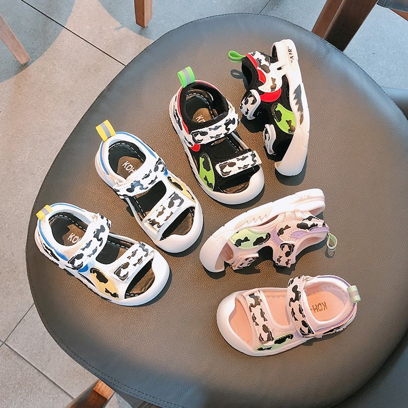 Cute Anti-collision Casual Sport Sandals Boys & Girls Velcro Soft Leather 1-8 Years Old Kids Beach Shoes T21N04LS-11