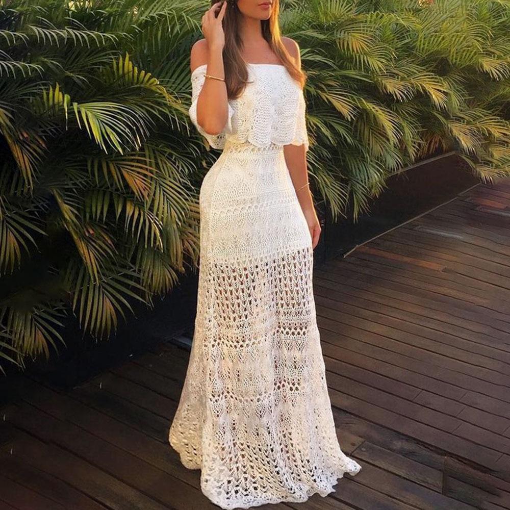 Women Sexy Off Shoulder Hollow Out Bohemian Dress Fashion Pretty Lady Strapless Floor-Length Sheath Lace Ruffles