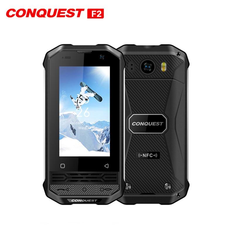 Перейти на Алиэкспресс и купить CONQUEST F2 Mini IP68 водонепроницаемый прочный мобильный телефон Android 8,1 3 ГБ + 32 Гб 13 МП четырехъядерный celular Fingerprint NFC Смартфон