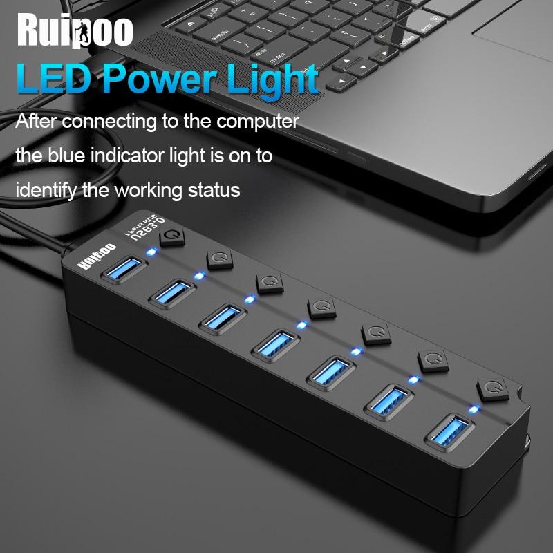 USB Hub 3,0 высокоскоростной 4 / 7 порт USB 3,0 концентратор разветвитель вкл/выкл переключатель с адаптером питания EU/US для MacBook ноутбука ПК концентр...