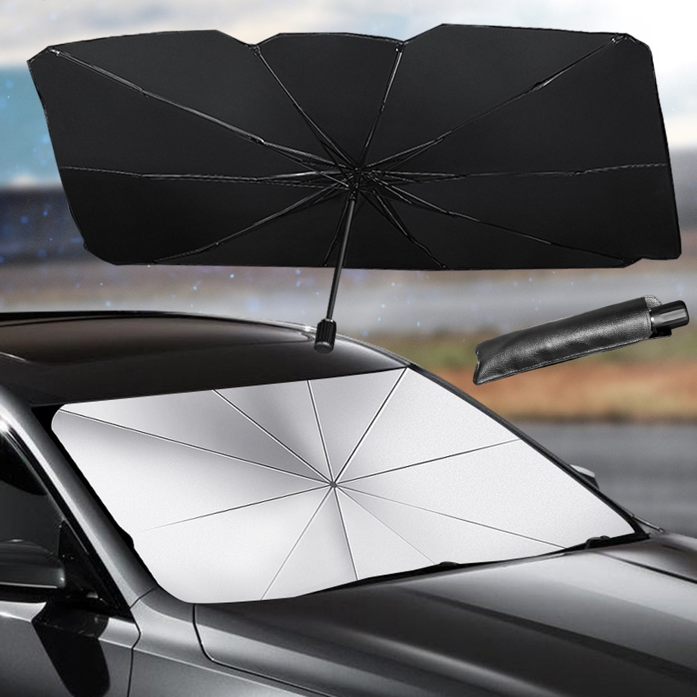 Car windshield folding sunshade, with storage bag, front window cover, ultraviolet umbrella, indoor warmth