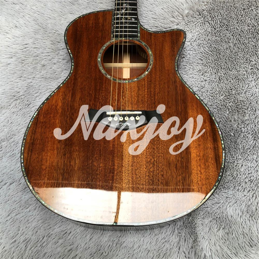 Chaylor 916 koa wood acoustic guitar,Ebony fingerboard abalone inlays,Solid koa Acoustic Electric Guitar, enlarge