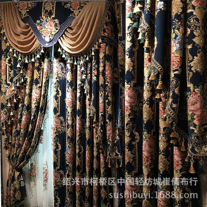 Novo bordado europeu azul royal cortinas de luxo para o quarto janela cortinas para sala estar elegante