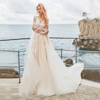 luxury champagne a line wedding dress with applique illusion long sleeves button back romantic bridal party gown 2021 vestidos