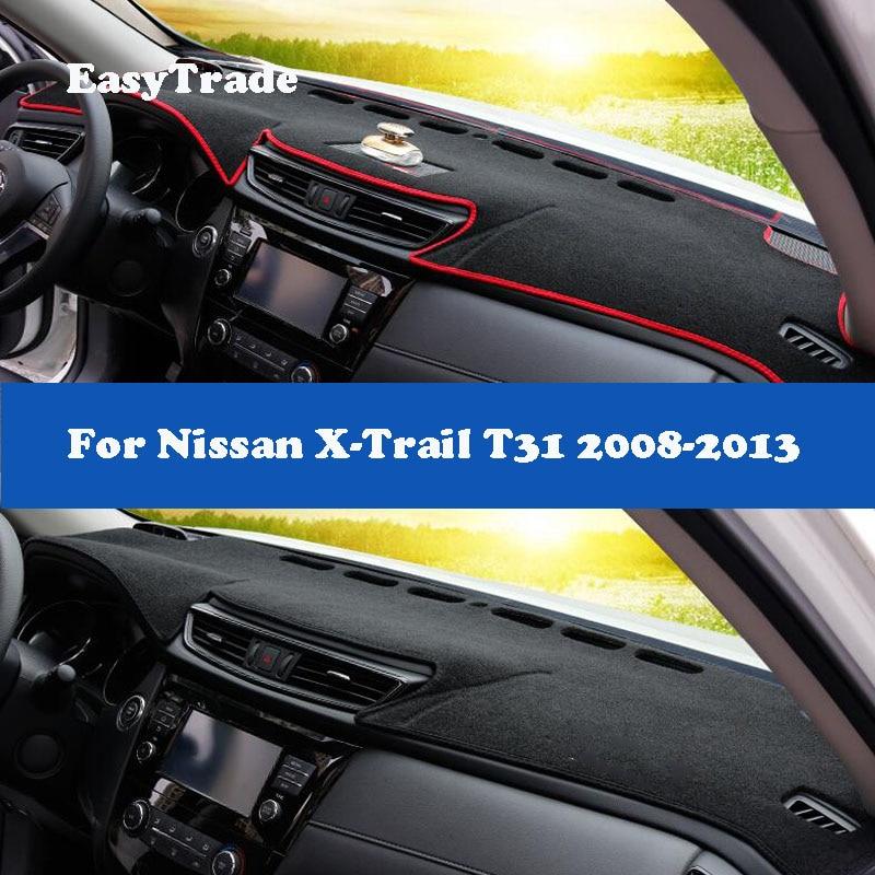 Para nissan x-trail x trail t31 2008-2012 2013 cobertura do painel do carro esteiras antiderrapante traço tapetes dashmat tapete preto accesssories