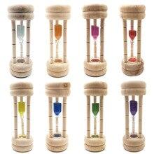 3 minutos relógios ampulheta escova de dentes temporizador areia relógio de vidro madeira mini 3 minutos chuveiro temporizador