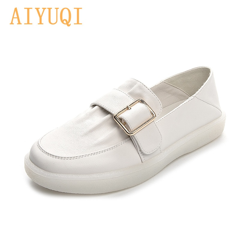 AIYUQI Loafers Women 2021 Summer New Square Buckle All-match Genuine Leather Ladies Sneakers Flat Large Size Nurse Shoes Women