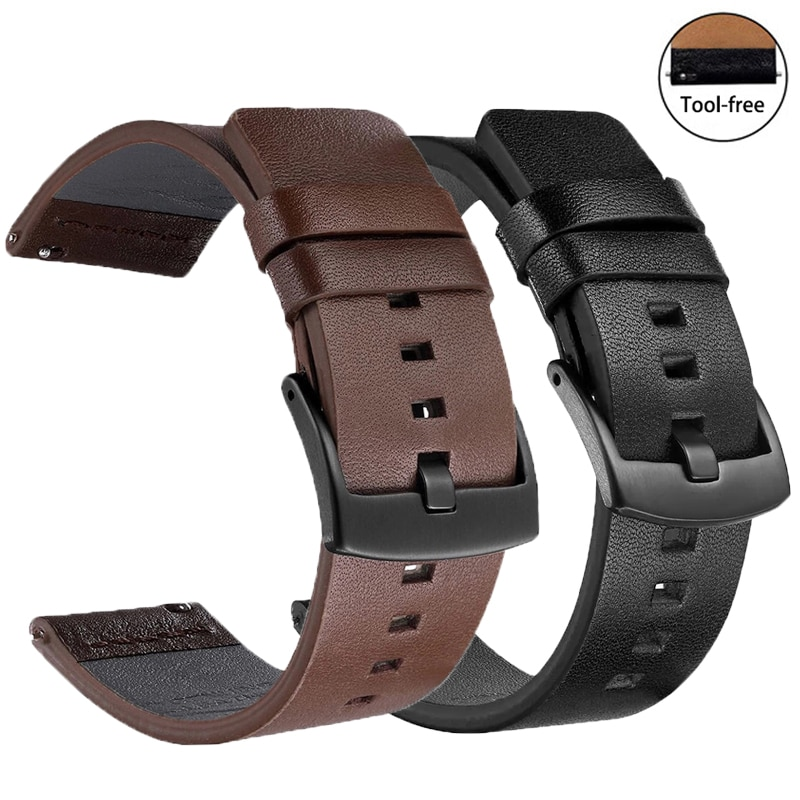 aliexpress.com - 24mm 18mm 20mm Quick Release Genuine Leather Watch Band for Samsung galaxy watch 3 45mm Gear S3 Strap 46mm 22mm