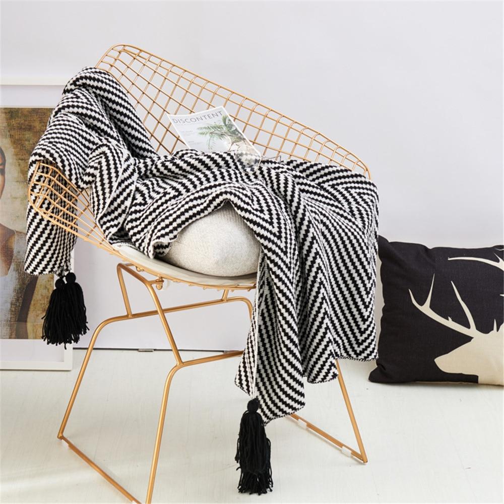 بطانية أريكة على الطراز الاسكندنافي البسيط ، شرابة ، نسيج قطني طويل منسوج ، للقيلولة ، مكتب ، خطوط حمار وحشي سوداء ، لفصل الشتاء