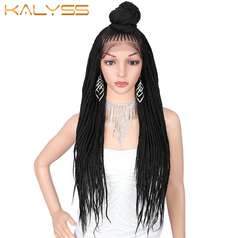 Kaylss 30 Inches 13x7 Braided Wigs Synthetic Lace Front Wig Updo Braided Wigs with Baby Hair for Black Women Cornrow Braided Wig