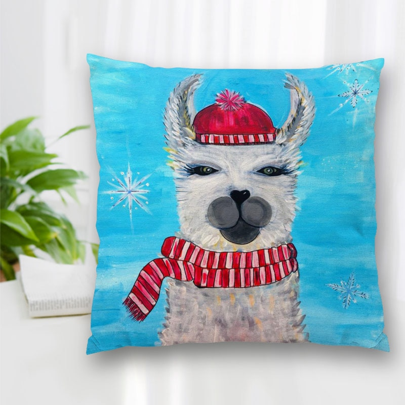 Custom Alpaca Art Painting Pillow Case Polyester Decorative Pillowcases Zipper Pillow Case Pillowcase Cover Square 40x40cm conch painting pattern square shape pillow case(without pillow inner)