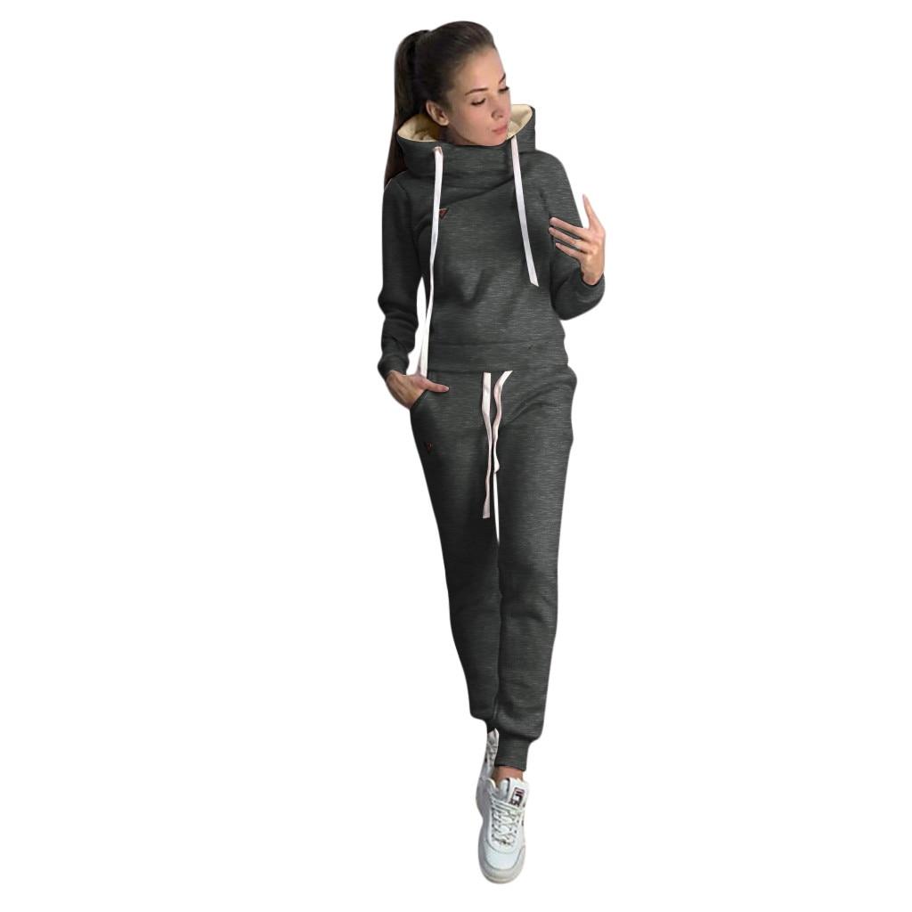 Women Tracksuit Sportswear Fitness Suit Casual Solid Hooded Long Sleeve Sport Tops+Long Pants Set Jumpsuit Long Sleeve Top