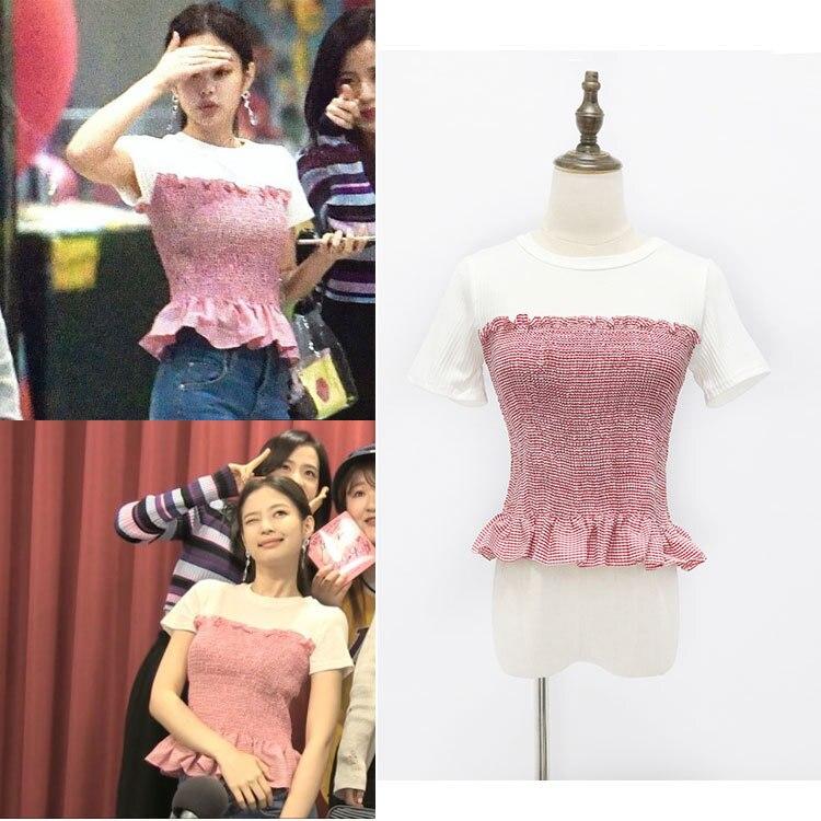 Kpop BLACKPINK Jennie 2020 nueva falsa de dos piezas de manga corta Camiseta suelta coreana Harajuku camiseta mujer verano Camiseta ajustada
